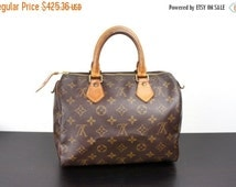 SALE Vintage Louis Vuitton Speedy Bag, Size 25, Small, Brown Monogrammed LV Canvas, Top Handle Tote, Vachetta Leather, Made in France 1994 0