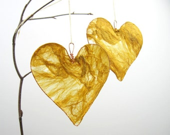 Silk heart in golden yellow, hanging heart decoration