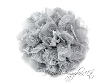 Gray Petite Lace Chiffon Flowers 3.5 inch - Grey Shabby Flower, Grey Fabric Flower, Grey Chiffon Flower, Grey Flowers for hair, Grey Flowers