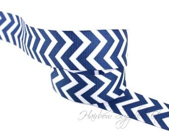 Navy Chevron Ribbon 7/8 inch NEW Grosgrain Ribbon - Hairbow Supplies, Etc.
