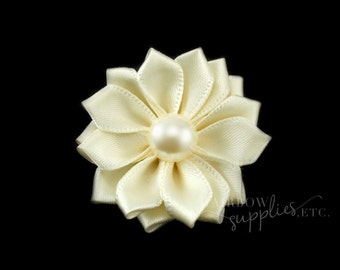 Ivory Dainty Star Flowers with Pearl 1-1/2 inch - Ivory Fabric Flowers, Ivory Silk Flowers, Ivory Hair Flowers, Ivory Flowers for Hair