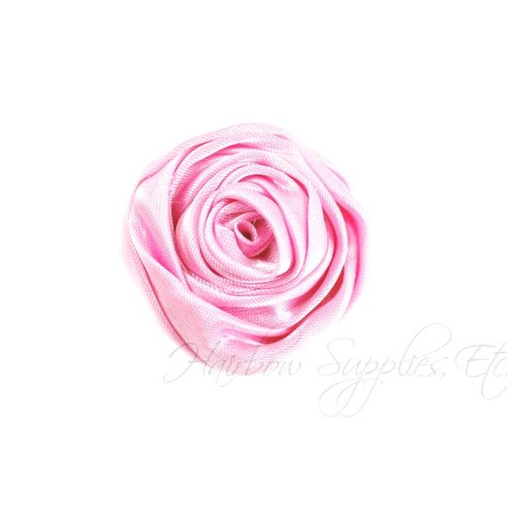 Light Pink Mini Sophia Multilayer Rolled Satin Flower - 1-1/2 inch - Light Pink Hair Flowers, Light Pink Satin Flowers, Pink Fabric Flowers