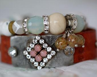 Leather cuff bracelet, Boho cuff, rhinestone cuff