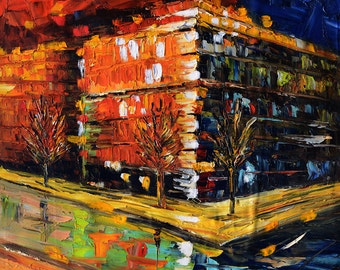 Original painting Oil Painitng Cityscape painting impasto palette Knife Colorful painitng orange night ready to hang gift art by Marchella