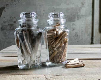 2 Vintage Counter Glass Jars