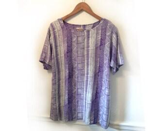 90s White and Purple Geometric Print Rayon Split Side Tunic size Medium