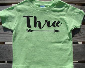 Third Birthday shirt, 3rd Birthday tee, Toddler Boy or girl Birthday, Third Birthday shirt, Happy 3rd Birthday tee