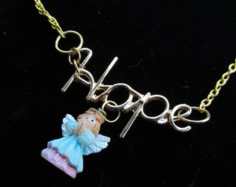 Hope with angel charm Necklace A 17