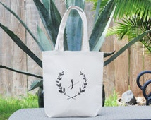 Personalized Eco Friendly Custom Lowercase Letter S Medium Canvas Reusable Gift Bag, Wedding Welcome Bag, Bridesmaid Bag, Wedding Bag