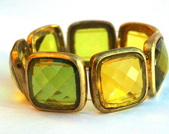 Chunky Vintage Faceted Glass Stretch Bracelet
