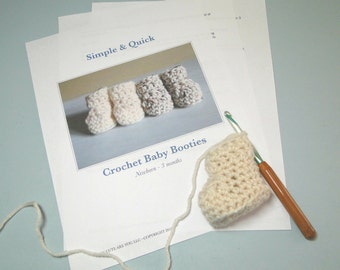 Baby Bootie Crochet Pattern,  Quick, Easy Crochet, 0 to 3 Months, 3-6 Months, Baby Shoes, Baby Boy or Girl Booties in Less Then One Hour!