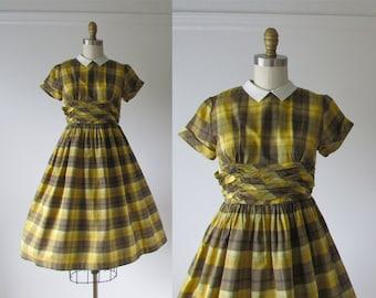 vintage 1950s dress / 50s dress / Yellow Schoolbus