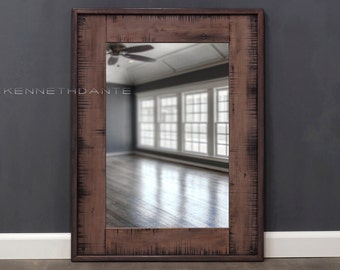 Barn Wood Mirror Distressed Faded Frosted Weathered Reds with Black 32 X 24 Powder Room Mirror Reclaimed Wood Mirror