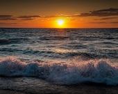 Lake Michigan Sunset with crashing shore waves at Point Betsie near Frankfort Michigan No.67522 Fine Art Autumn Nautical Seascape Photograph