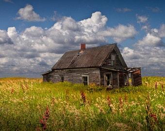 Abandoned Prairie Farm House under Cloudy Blue Skies No.42175 A Fine Art Rural Western American Landscape Photograph