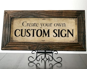 DAVINCI - Custom Signs with Dark Reclaimed Wood Frame. Rustic Signs. Wedding Decor. Restaurant Sign. Custom Frame. Coffee Shop Sign. 20x10