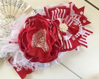 Christmas Stocking Flower Headband, Cozette Couture, red headband, Christmas headband