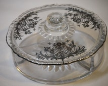 Vintage Silver Overlay Divided Round Candy Dish w Lid FLoral 3 Compartments Flat