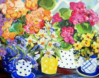 Greenhouse Floral Landscape Original Painting 20 x 30 Art by Elaine Cory