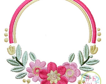 "Floral 2 Frame Design For Machine Embroidery, shown with our ""Fancy Oval"" Font NOT Included, INSTANT DOWNLOAD now available"