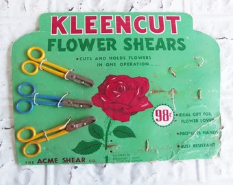 Vintage Kleencut Flower Shears Counter Top Store Display . Think Spring . Vintage Garden Advertising