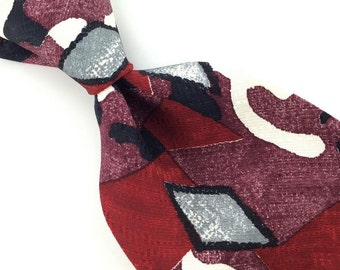 Galleria Co Us Made Deco Maroon Gray Silk Men Necktie I1-348 Ties  Excellent Ties Vintage Corbata Krawatte Cravatta Cravate