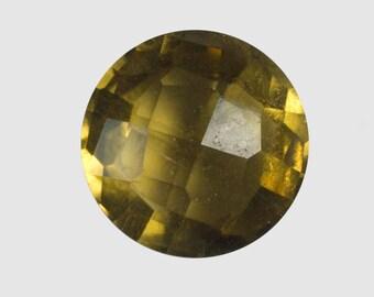 CITRINE (32631)  ### Sparkling! Checkboard Cut  7mm Honey Orange Round Citrine (Quartz)