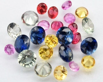 SAPPHIRE  (30136) PARCEL  (25 Gems) Round 1.7 to 3mm Mixed Sapphire - Faceted