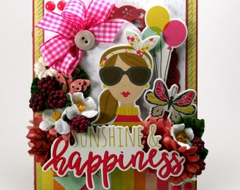 Sunshine & Happiness Greeting Card Polly's Paper Studio Flowers Balloons Sunglasses butterfly Simple Stories Petaloo