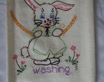 HOP into spring with vintage flour sack embroidered bunny towel washing chore