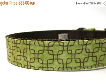 BIG Summer SALE Green Geometric Squares Dog Collar