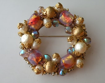 Fire opalescent foil glass beads faux pearls metal beads round beaded wreath brooch