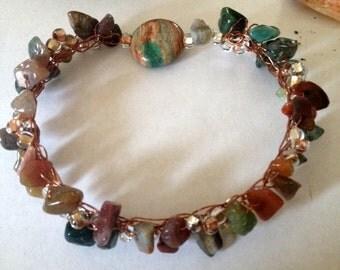 Jasper and Bead Bracelet, Jasper Jewelry, Polished Jasper