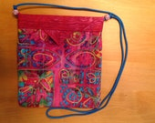 """Hot Pink Embroidered Quilted Fabric Snap Bag Purse Handbag  7-3/4"""" x 8-3/4"""""""