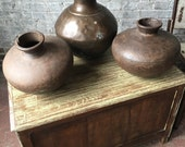 Reserved Susan Vintage Industrial Iron Distressed Rusty Metal Water Pot Vase Urn