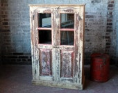 Bar Cabinet Salvaged Indian Furniture Kitchen Cabinet Curio Yellow Boho Distressed Painted Antique Cabinet
