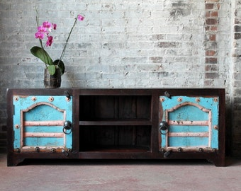 Reclaimed Antique Door Media Console TV Stand Reclaimed Heavily Distressed Turquoise Jodhpur Blue Salvaged Indian Doors Archit