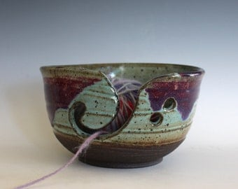 Ceramic Yarn Bowl, handmade stoneware pottery,handmade ceramic yarn bowl, READY TO SHIP