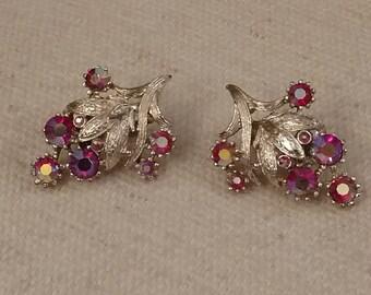 CORO Red Earrings, Aurora Borealis, Clip On