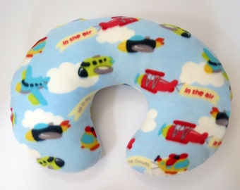 Airplanes in the Clouds fleece baby Boppy or nursing pillow cover