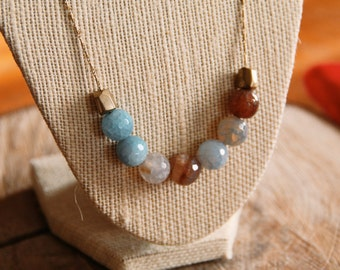 Le Mer Color Shift Necklace in Agate- Gorgeous Agate beads with vintage brass chain and solid brass beads