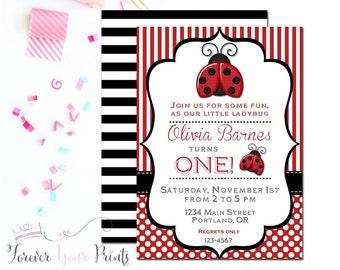 Girls Ladybug Party Invitation, Ladybug Birthday Invitation, Girls 1st Birthday Invitation, Ladybug Party Invitation, Girls Birthday