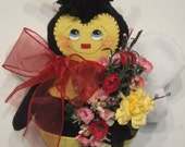Bumble Bee cloth art doll hanging wall decoration