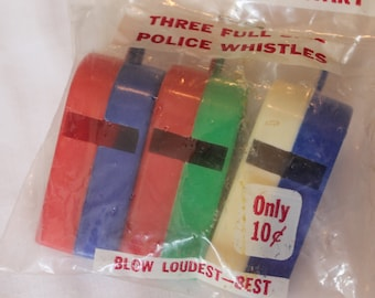 Vintage Toy Police Whistle Plastic Sanitary Abbott Horton Chain Button Loop NOS Vintage Toy Police Whistle
