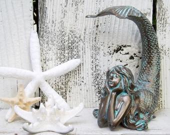 Mermaid Decor~Patina~Mermaid Sculpture~Mermaid home Decor Cyber Monday