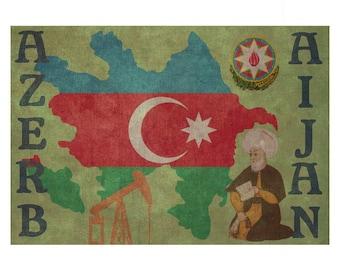 AZERBAIJAN 1F- Personalized Leather Journal Cover Moleskine Field Notes Custom