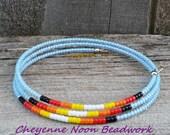 Native American Beaded Bracelet - Triple Coil Wrap - Light Blue Sunset