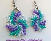 Native American Beaded Earrings - Twin Swirls - Purple, Teal & White