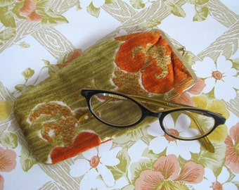 Vintage 1960s Eyewear Case Orange Chenille Floral Eye Glasses Spectacles Case