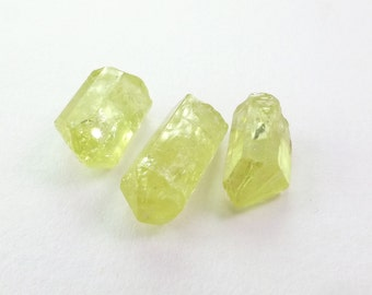 Natural Yellow Apatite Rough Crystals. Super Clean and Very Very Bright. 3 pc. 11.69 cts. +/- 7x11x5 mm  (AP459)